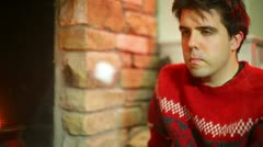 Christmas roasting marshmellows Stock Footage