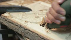 Xylography (woodcutting) deep cutting Stock Footage