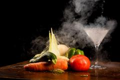 vegetables and liquid nitrogen - stock photo