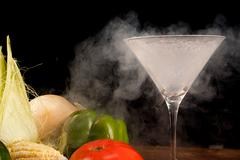 vegetables and liquid nitrogen - stock photo
