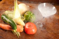 Vegetables and liquid nitrogen Stock Photos