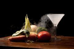 Stock Photo of vegetables and liquid nitrogen