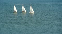 Three White Sail Boats Tilt Shift 1 HD Stock Footage