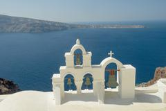 santorini church - stock photo
