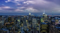 Manhattan New York City at Night - Empire State Building from Helicopter in 4K Stock Footage