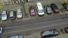 Bird's eye view of a tram moving by HD Stock Footage