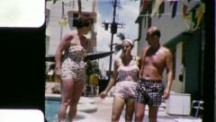FRIENDS GOOF OFF Motel Pool 1960 (Vintage Old Film Home Movie) Stock Footage