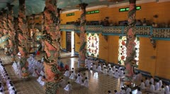 Religious ceremony in Cao Dai Temple Stock Footage