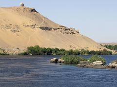 Nile and mausoleum near aswan Stock Photos
