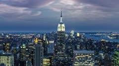Manhattan New York City NYC USA Night Evening Beautiful Gorgeous Pretty Blue - stock footage