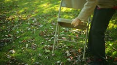 Putting chairs out event prepare Stock Footage