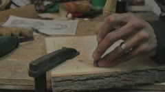 Xylography (woodcutting) _ hammer and chisel  _3 Stock Footage