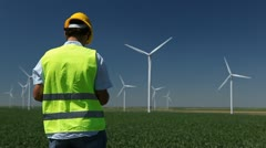Engineer is Checking, Wind Power, Turbine, Energy Production, Renewable Mill Stock Footage