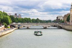 Pleasure boat on the seine in paris. france Stock Photos