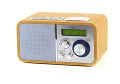 old wood radio in a white background - stock photo