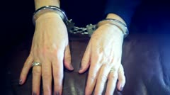 Woman handcuff handcuffs arrest arrested 1 Stock Footage