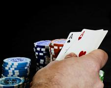 hand with a pair of aces - stock photo