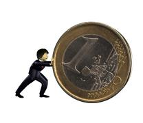 3d business man push a euro coin Stock Illustration