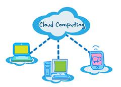 Cloud computing concept communicating Stock Illustration
