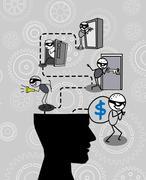 Thief thinking head Stock Illustration
