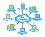 Cloud computing concept client computers communicating Stock Illustration