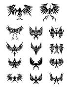 14 Set of eagle wings - stock illustration