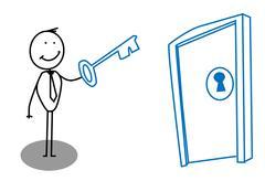 Man key door Stock Illustration