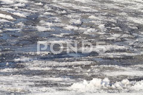 Stock photo of Ice and Snow Slush Road Hazards