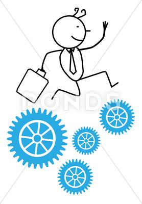 Stock Illustration of Businessman Run Gear