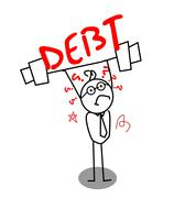 Debt for weak businessman Stock Illustration