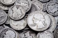 Pile of old silver dimes & quarters Stock Photos