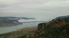 Vista House at Crown Point along Columbia River Gorge in Autumn Timelapse Stock Footage