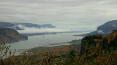 Columbia River Gorge Clouds and Fog Timelapse 1080p Stock Footage