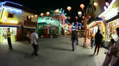 Time Lapse of Night People in China Town Downtown Los Angeles Stock Footage