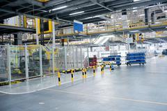 The sedan assembly shop production line - stock photo