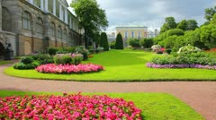 Flower garden in Pushkin park St. Petersburg Russia Stock Footage