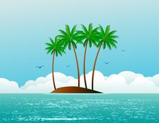 Tropical island Stock Illustration