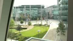 View from highrise window of plaza Stock Footage