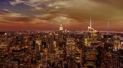 Empire State Building Manhattan Skyline New York City Red Orange Sunset NYC Stock Footage