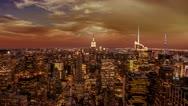 Empire State Building Manhattan Skyline New York City Red Orange Sunset NYC Stock Footage