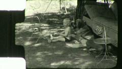DACHSHUND ST BERNARD BABY BOY Pet Dog 1930 (Vintage Old Film Home Movie) 5511 Stock Footage