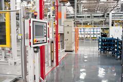 automobile plant assembly shop - stock photo