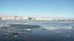 Ice floating in Neva river near Palace Bridge Stock Footage