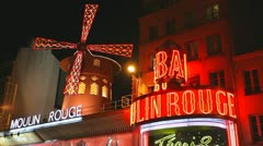 Moulin Rouge by night Stock Footage