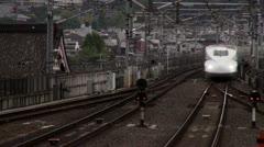 Shinkansen Arrives At Kyoto Station Stock Footage