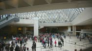 Visitors in painting gallery on October 3, 2012 in Louvre Museum, Paris, France. Stock Footage