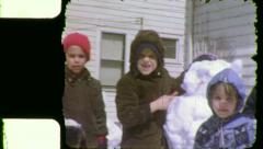 KIDS BUILD Frosty the SNOWMAN Christmas 1960s Vintage Film Home Movie 5516 Stock Footage