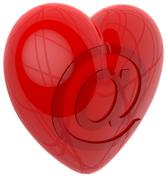 3d heart by email - stock illustration