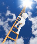 ladder to sky 3d - stock illustration