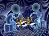 Stock Illustration of two abstract semi-transparent characters are playing a kind of digital chess